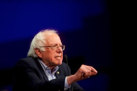 FILE PHOTO: U.S. Senator Bernie Sanders campaigns for Democrat Greg Edwards, Pennsylvania's 7th District Congressional candidate, during a rally in Allentown, Pennsylvania