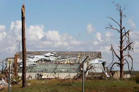 Damage caused by Hurricane Michael is seen on Tyndall Air Force Base, Florida, U.S., October 16, 2018.   REUTERS/Terray Sylvester