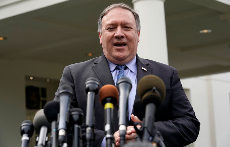 © Reuters. U.S. Secretary of State Pompeo speaks to reporters after having lunch with President Trump at the White House in Washington