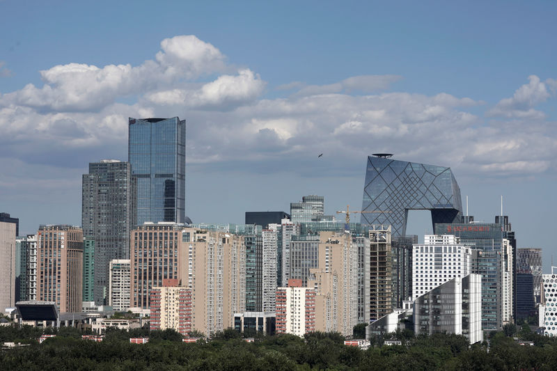 © Reuters. The skyline of Beijing's central business district on a sunny day