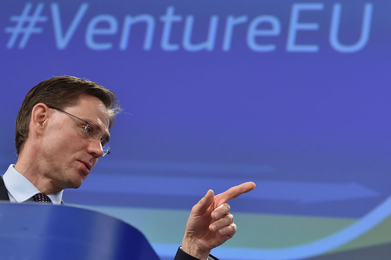 © Reuters. FILE PHOTO: EC Vice-President Katainen attends a news conference on the launch of VentureEU in Brussels