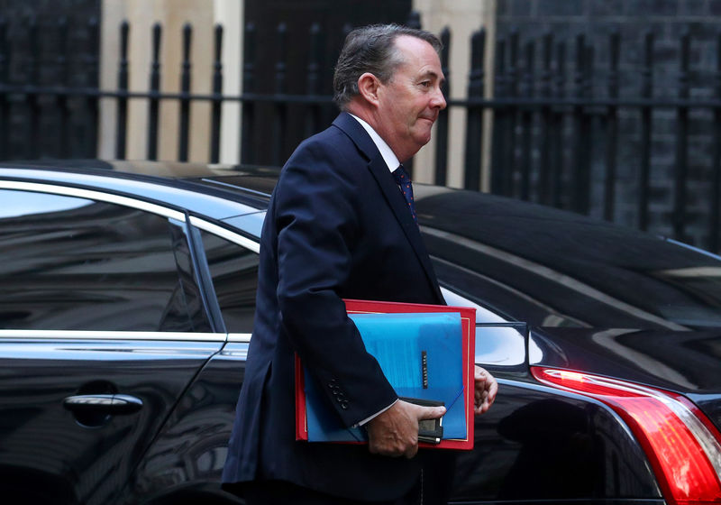 © Reuters. Britain's Britain's Secretary of State for International Trade Liam Fox arrives in Downing Street, London