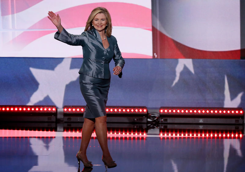 © Reuters. FILE PHOTO: Representative Blackburn takes the stage to speak during the final day of the Republican National Convention in Cleveland