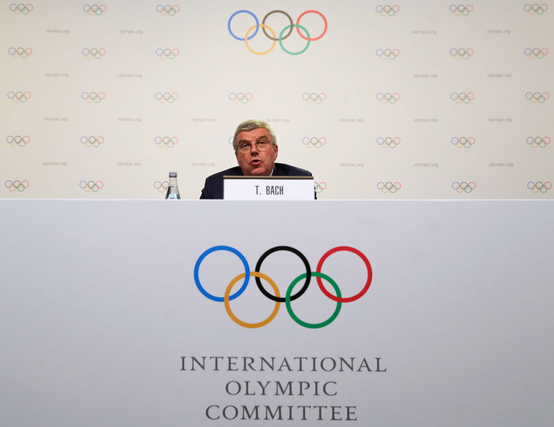 © Reuters. IOC President Bach speaks during a news conference at the end of the 133rd IOC session in Buenos Aires