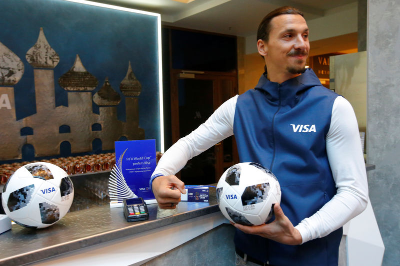 © Reuters. Former Swedish striker Ibrahimovic attends a meeting with media representatives on the upcoming 2018 FIFA World Cup in Moscow