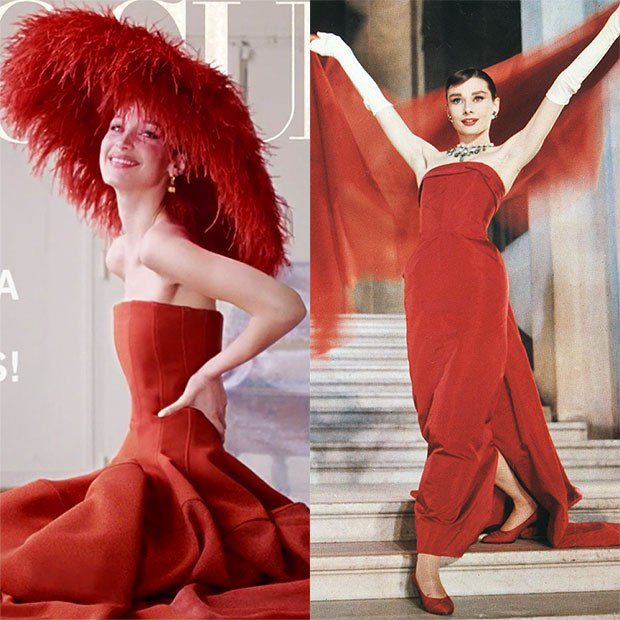 Bella Hadid Channels Audrey Hepburn In Gorgeous Red Dress For New