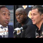 Stephen A. reacts to Magic Johnson accusing Lakers GM Rob Pelinka of 'backstabbing'   First Take