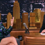 Selena Gomez Dazzles In Sequin Striped Dress With High Slit On 'Jimmy Fallon' — See Sexy Pics