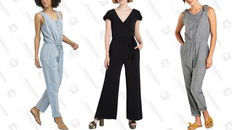 GAGA Women Denim Sleeveless Tank Jumpsuit Button up Drawstring Romper
