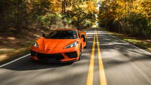 a close up of a car going down the road: 2020 Chevrolet Corvette C8 05