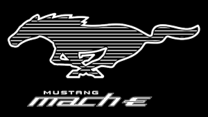 a close up of a logo: 2021 Ford Mustang Mach-E