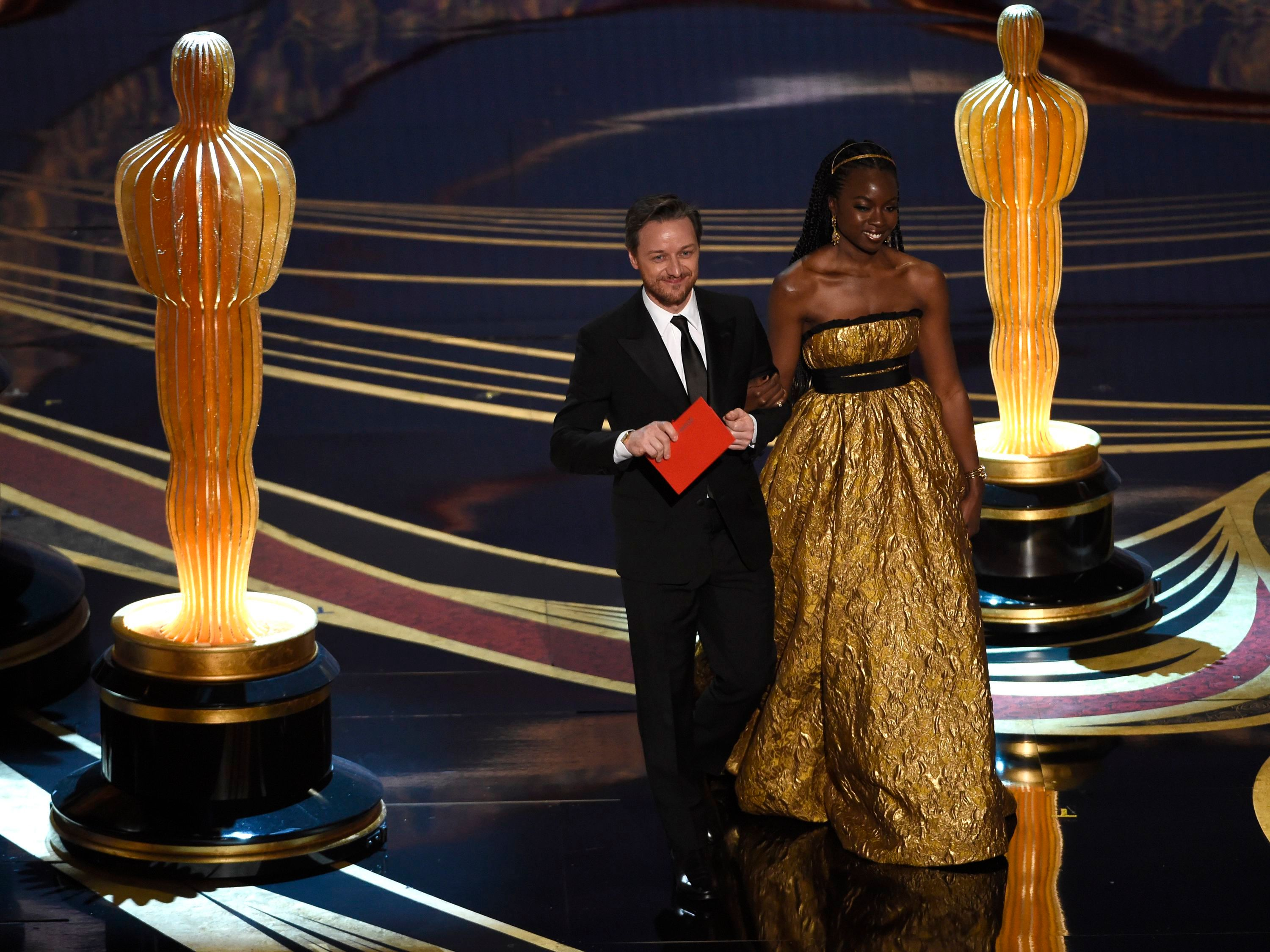 James McAvoy, Danai Gurira. James McAvoy, left, and Danai Gurira walk on stage to present the award for best sound editing at the Oscars, at the Dolby Theatre in Los Angeles91st Academy Awards - Show, Los Angeles, USA - 24 Feb 2019