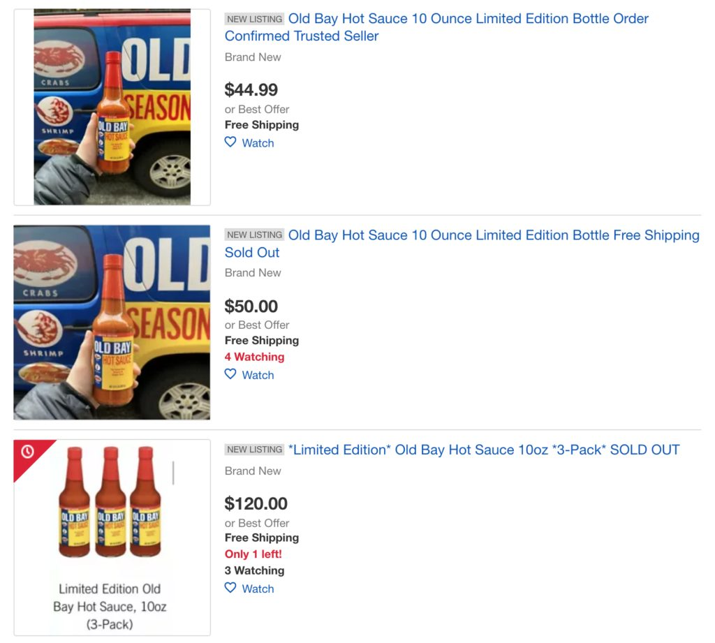 Old Bay S Sold Out Hot Sauce Is Now 50 A Bottle On Ebay E Radio Usa
