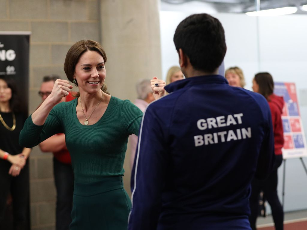 Catherine Duchess of Cambridge alongside athletes during a SportsAid event at the London Stadium in StratfordCatherine Duchess of Cambridge attends a SportsAid event, Stratford, London, UK - 26 Feb 2020