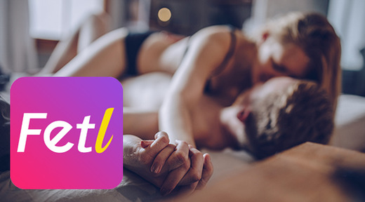 Couple in bed together, FetL app overlay