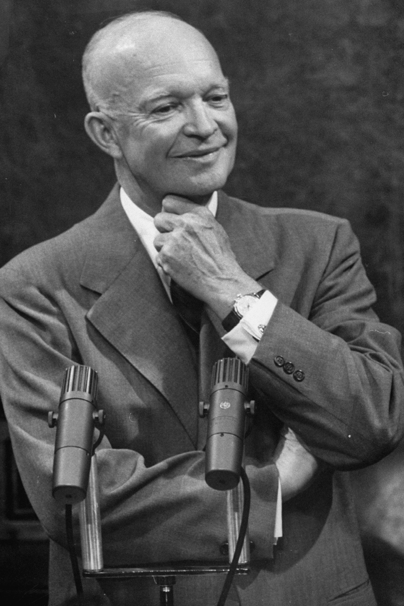 President Dwight D. Eisenhower at White House press room conference.