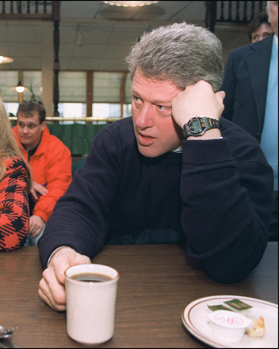 Democratic presidential candidate Bill Clinton in a picture dated 16 February 1992 in Bedford and his wife Hillary...