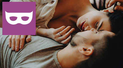 Couple kissing with Lucky logo overlay