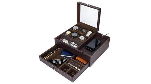 HOUNDSBAY Commander Dresser Valet Watch Box Case