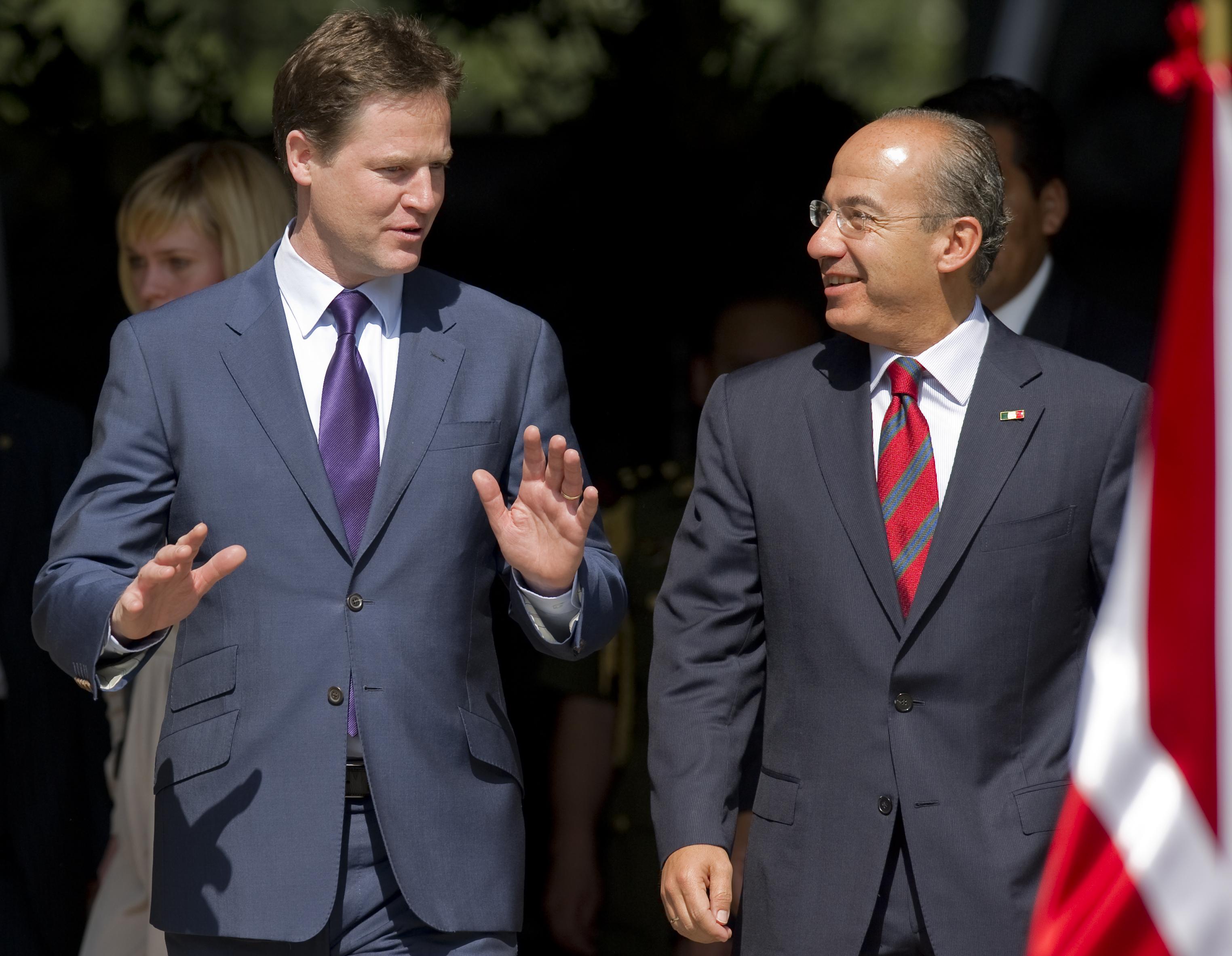 British Deputy Prime Minister Nick Clegg and Mexican President Felipe Calderon