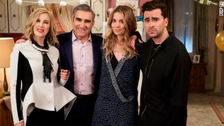 """(From left) Catherine O'Hara, Eugene Levy, Annie Murphy and Daniel Levy star in Pop TV's """"Schitt's Creek,"""" which swept the 2020 Emmys."""