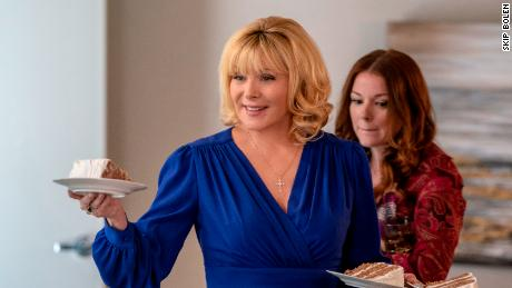 """(From left) Kim Cattrall and Aubrey Dollar star in """"Filthy Rich."""""""