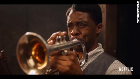 "Chadwick Boseman stars as ambitious trumpeter Levee in ""Ma Rainey's Black Bottom."""